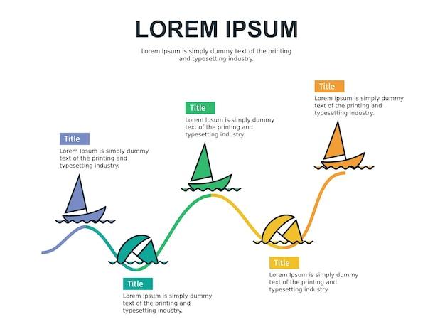 Prospecto de lucro e estatística slide modelo com barco