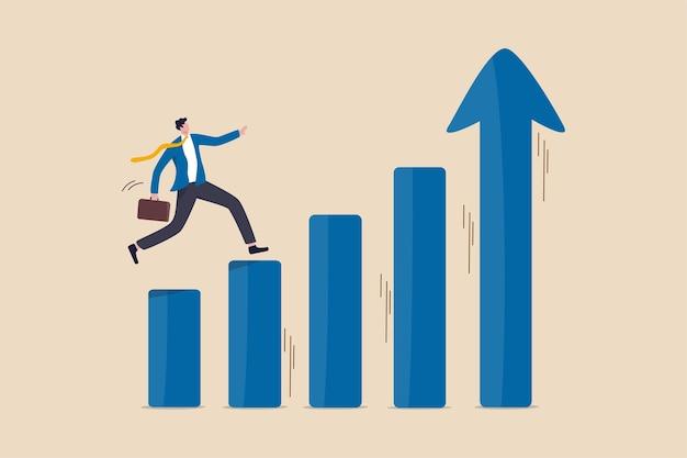 Prosperidade econômica, crescimento do lucro do negócio ou plano de carreira e conceito de aumento de renda
