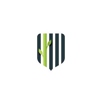 Proteção ambiental, segurança ecológica, escudo da natureza e símbolo de planta, logotipo, insígnia.