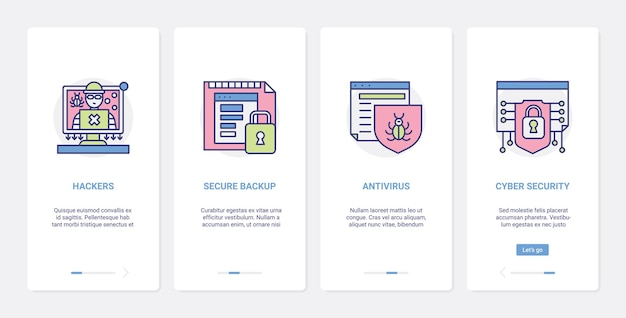 Proteção antivírus de hackers, ilustração de tecnologia de segurança cibernética.