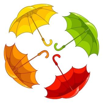 Proteção contra chuva. guarda-chuvas multicoloridos em estilo cartoon. ilustração vetorial para design e decoração.