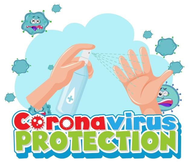 Proteção contra coronavírus com as mãos usando spray desinfetante de álcool
