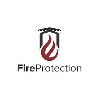 Proteção contra fogo com letra e design de logotipo moderno e geométrico simples e elegante