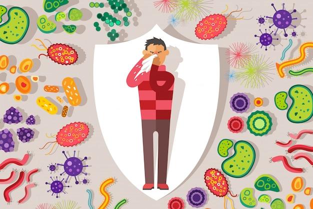 Proteção contra germes e vírus, ilustração de pessoas doentes. homem frio com lenço espirros, nariz vermelho, micróbios.
