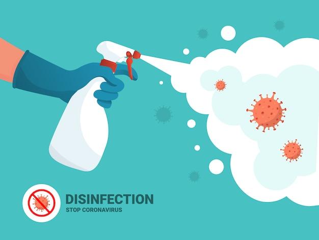 Proteção contra o coronavírus. homem de luvas detém garrafa de spray anti-séptico. balão antibacteriano mata bactérias. conceito de desinfetante. design plano. higiene em casa e higiene pessoal. pare covid-19