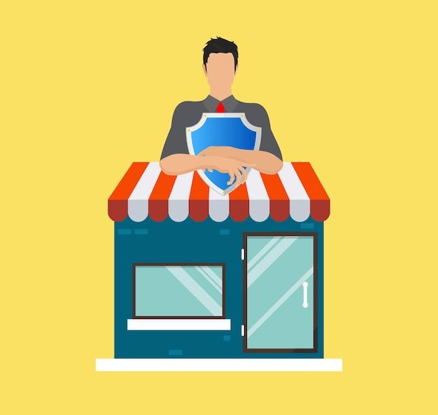Proteção da loja e folheto de securidade
