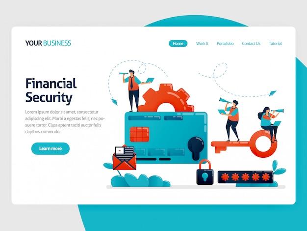 Proteção da página de destino da ilustração nas transações de pagamento e cartão de crédito. segurança financeira com uma senha.