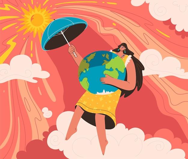 Proteção da terra do conceito global quente. mulher cobre o planeta com guarda-chuva do sol ardente.
