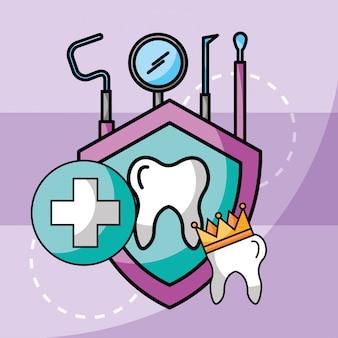 Proteção das ferramentas da coroa do dente dos cuidados dentários