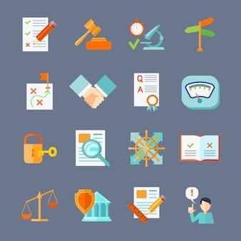 Proteção de acordo de conformidade legal e conjunto de ícones plana de regulamento de direitos autorais
