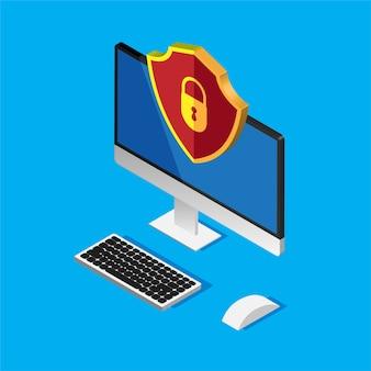 Proteção de arquivo. segurança e privacidade de dados. informações confidenciais seguras. monitor de computador e escudo vermelho