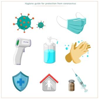 Proteção de corona de vírus cuidando de sua saúde e mantendo-a limpa. forte e saudável