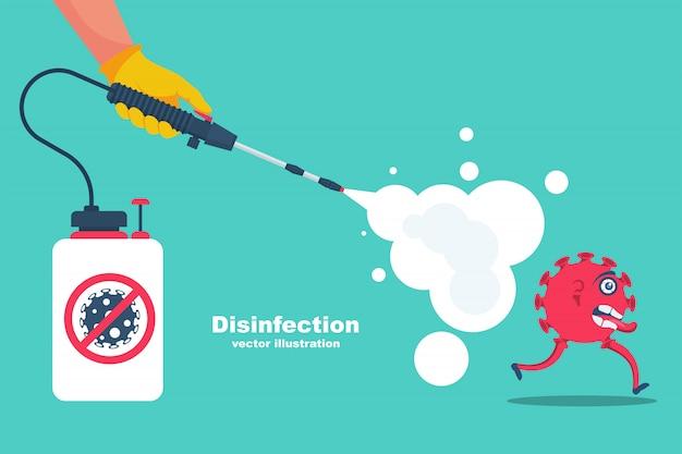 Proteção de coronavírus da página de destino. conceito desinfetante