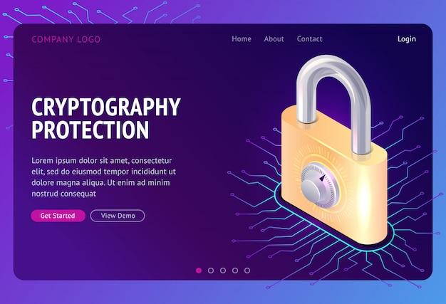 Proteção de criptografia, conceito isométrico da web