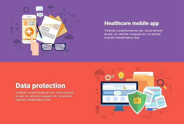 Proteção de dados, aplicação médica medicina de cuidados de saúde online banner web ilustração vetorial plana