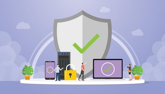 Proteção de dados com grande escudo e cadeado com banco de dados do servidor de dados com estilo moderno e plano