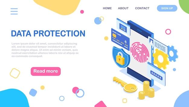 Proteção de dados. digitalize a impressão digital para o telefone. segurança de identificação de smartphone. identificação biométrica