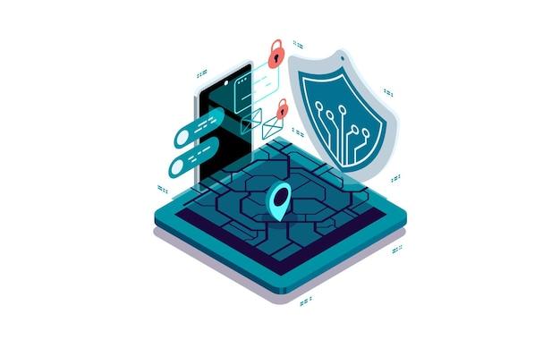 Proteção de dados em um smartphone, navegação.