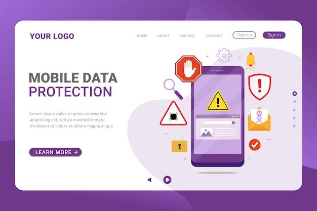 Proteção de dados móveis do modelo da página de destino contra golpes