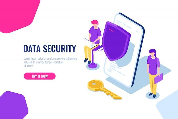 Proteção de dados móveis e informações pessoais, celular com escudo e chave