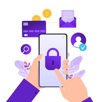 Proteção de dados móveis e informações pessoais, mãos segurando um telefone celular com bloqueio