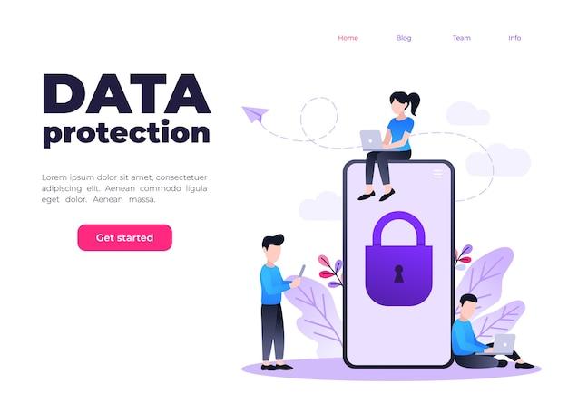 Proteção de dados móveis e informações pessoais, telefone celular com bloqueio