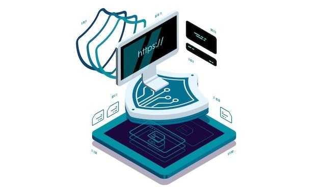 Proteção de dados no pc doméstico. conceito de visualização de dados.