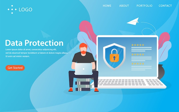 Proteção de dados, página de destino