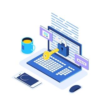Proteção de dados. segurança na internet, acesso à privacidade com senha. computador isométrico, chave, fechadura