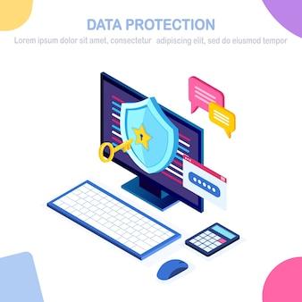 Proteção de dados. segurança na internet, acesso à privacidade com senha. isométrico computador pc com chave, bloqueio, escudo, bolha de mensagem.