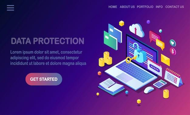 Proteção de dados. segurança na internet, acesso à privacidade com senha. isométrico computador pc com chave, cadeado aberto, pasta, nuvem, documentos, laptop, dinheiro.