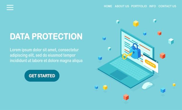 Proteção de dados. segurança na internet, acesso à privacidade com senha. isométrico computador pc, laptop com chave, fechadura.