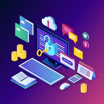 Proteção de dados. segurança na internet, acesso à privacidade com senha. isométrico pc computador com chave, cadeado aberto, pasta, nuvem, documentos, laptop, dinheiro.
