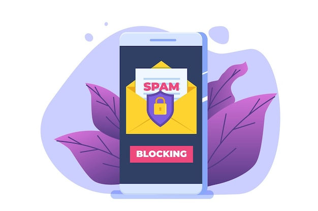 Proteção de e-mail, anti-malware, conceito anti-spam. ilustração vetorial plana