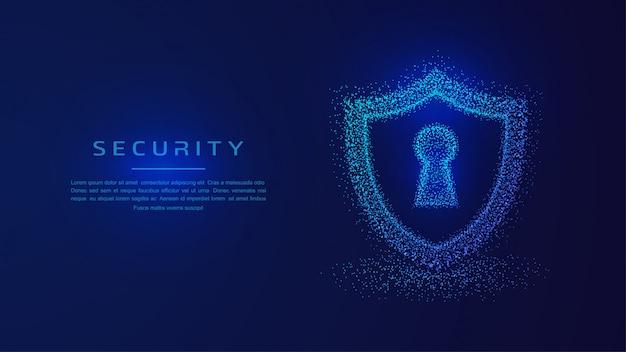 Proteção de escudo, conceito de segurança de guarda protegida.