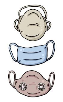 Proteção de máscara facial contra ilustrações de desenho de vírus