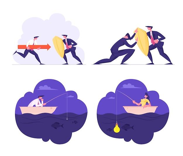 Proteção de negócios, desafio e busca de novas ideias gerentes de conjunto de personagens lutando