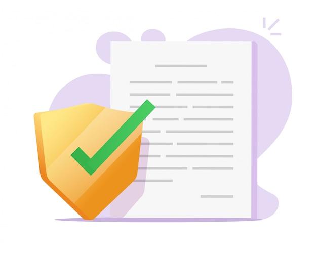 Proteção de segurança de arquivo de documento ou contrato privado confidencial acesso a dados escudo conceito ilustração plana dos desenhos animados
