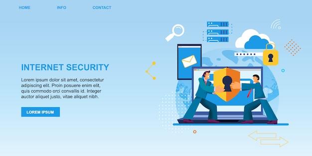 Proteção de segurança de internet de bandeira plana.