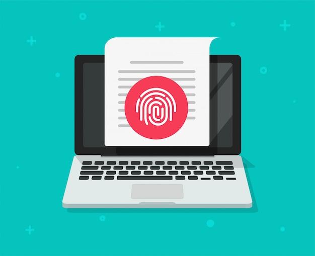Proteção de segurança via identificação de impressão digital por toque, identificação ou impressão digital de acesso confidencial no documento do laptop do computador