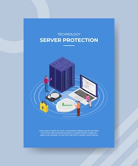 Proteção de servidor de tecnologia pessoas projetam em torno de disco rígido de proteção de cadeado de laptop de servidor