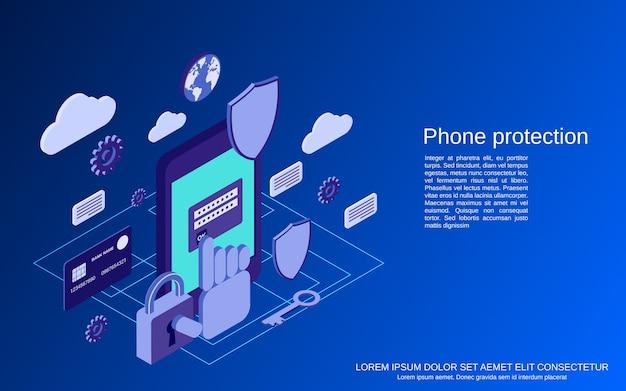 Proteção de telefone, conceito isométrico plano de segurança de computador