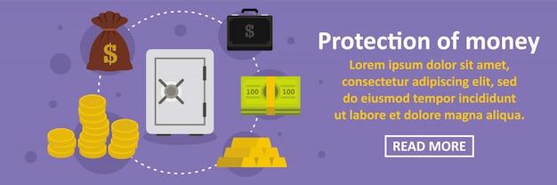 Proteção do conceito horizontal de banner de dinheiro