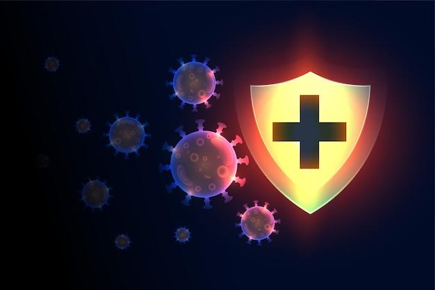 Proteção do escudo médico do sistema imunológico que interrompe o vírus da corona