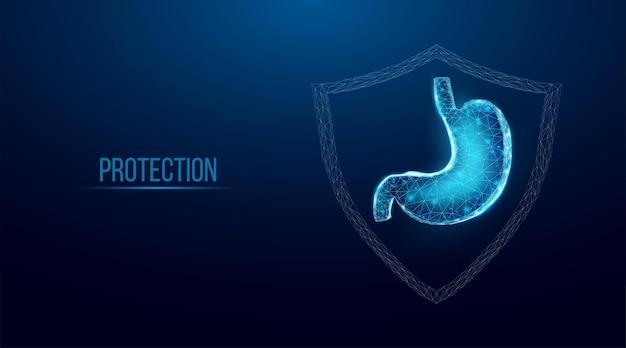 Proteção do estômago humano. estilo wireframe low poly. conceito de tratamento médico e farmacológico do sistema digestivo. ilustração em vetor 3d moderna abstrata em fundo azul escuro.