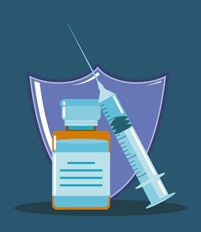Proteção do medicamento com seringa da vacina contra o coronavírus mundial contra ilustração