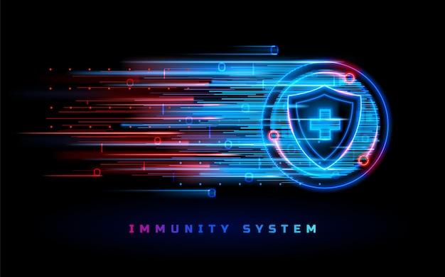 Proteção do sistema de imunidade escudo contra coronavírus, vacina antiviral, medicina, linha neon, fundo