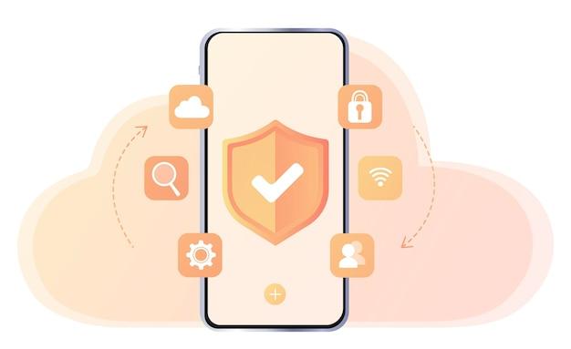 Proteção do telefone antivírus atualizando dispositivos transferência de arquivos arquivos de forma criptografada transferidos