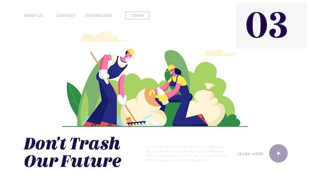 Proteção ecológica, pessoas voluntárias limpando lixo no parque da cidade.