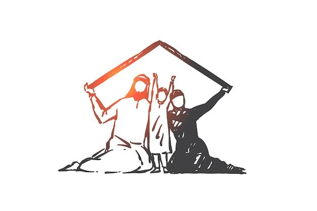Proteção familiar, união, ilustração do conceito